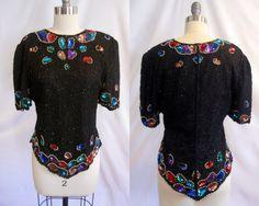 Vintage 80's Laurence Kazar Black Sequin Top