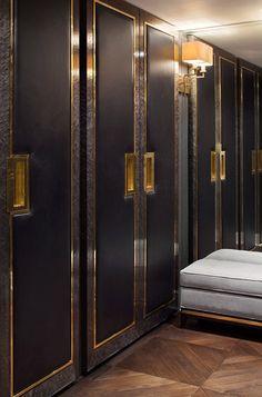 These closet doors have an almost Art Deco quality Wardrobe Doors, Bedroom Wardrobe, Wardrobe Closet, Black Wardrobe, Closet Doors, Room Doors, Dressing Room Design, Dressing Rooms, Art Deco