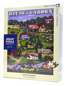 Good Neighbors (1000 pc), $15.99 (http://www.wholesalepuzzles.com/americana-puzzles/folk-art-puzzles/good-neighbors-1000-pc/)