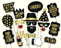 PLEASE NOTE: this is a DIGITAL DOWNLOAD, NO PHYSICAL ITEM WILL BE SHIPPED, you will get printable New Years Eve props (PDF file ready for printing). For more details please read below. These are the perfect printable photobooth props for effortless fun meter booster for your 2018 New