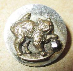 Antique Victorian Metal Picture Button Brass Kitten Cat Playing w Cut Steel Ball