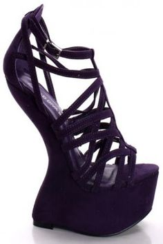 PURPLE FAUX SUEDE CAGED EFFECT PLATFORM CURVED WEDGE HEEL Cheap Jewelry Boxes, Party Shoes, Wedge Heels, Dress Shoes, Platform, Wedges, Purple, Fashion, Formal Shoes