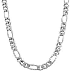 Fremada 14k White Gold 5mm Classic Figaro Link Necklace ($1,085) ❤ liked on Polyvore featuring men's fashion, men's jewelry, men's necklaces, white, mens figaro necklace, mens figaro chain necklace, mens white gold chain necklace, mens chain necklace and mens white gold necklace