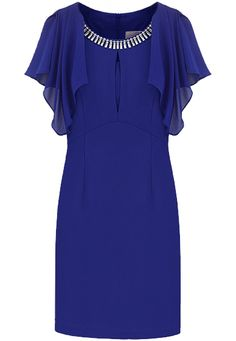 Royal Blue Ruffles Sleeve Rhinestone Bodycon Chiffon Dress