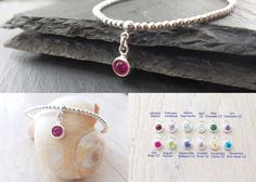 Birthstone bracelet Personalized bracelet by AngelicSpark on Etsy