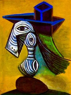 """Woman w/ a Blue Hat"""" -- 1939 -- Pablo Picasso -- Spanish -- Oil on canvas."""