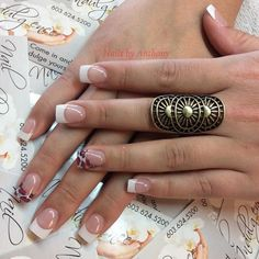 Fun French manicure nails by Anthony