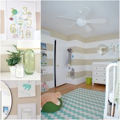 i love this for a gender neutral baby room and i would only have to paint white stripes since the walls are already tan