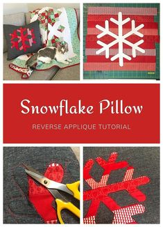Snowflake Pillow Tutorial by Cheryl of Meadow Mist Designs teaches how to use reverse applique to create a fun and modern holiday / Christmas pillow. #snowflakepillow #reverseapplique #meadowmistdesigns #christmaspillow #holidaypillow#snowflakeapplique Christmas Quilt Patterns, Christmas Sewing, Christmas Pillow, Christmas Crafts, Applique Tutorial, Pillow Tutorial, Quilt Stitching, Applique Quilts, Quilting Tips