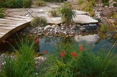 bassin de jardin avec un pont en bois et galets