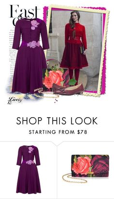 """Dress violet"" by solan79 ❤ liked on Polyvore featuring Olympia Le-Tan, Ted Baker, Anne Klein and dress"