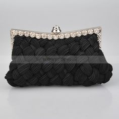 Black+Front+Crisscrossed+Satin+Evening+Clutch+with+Rhinestone