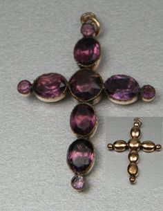 """Amethyst paste 18th century cross, English circa 1780 Foiled gilt set"""