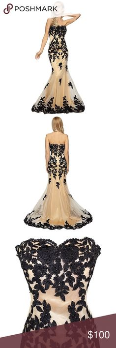 Women's Strapless Lace Bead Formal Evening Gown  This long strapless prom dress has a sweetheart neck and richly embellished in delicate floral lace embroidery. The layered sheer skirt on this floor length dress hugs your hips as it flares to the floor with embellished emboridery at the hemline. The shimmering nude lining add a dramatic finish to this sensational dress. Worn once. Perfect Condition. Unaltered. Refer to sizing chart for fit. Meier Dresses Prom