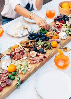 Giant charcuterie inspired food board.
