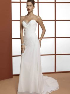 chiffon, beading and a corset back, so it looks comfortable, elegant and flattering. (OreaSposa - 2013 Collection - Style L639)