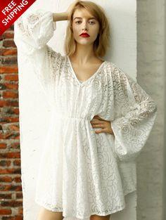 White Long Sleeve Lace V Neck Dress www.ustrendy.com #UsTrendy