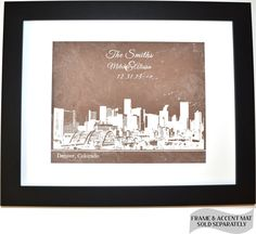 Custom Denver Colorado Wedding Skyline Personalized Wedding Gift: Any City Custom Couples Gift Quote First Home Print Wall Art Poster Decor