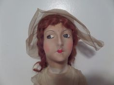 "29"" 1920's Antique Vintage Cloth Art Deco Bed Boudoir Doll With Silk Mask Face"