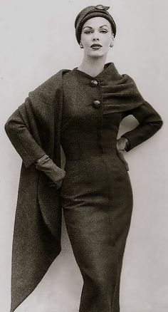 Gorgeous winter dress from the 50's Women's vintage fashion photography photo image