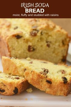 Irish Soda Bread is golden, moist and fluffy and studded with raisins for the best quick bread loaf! Best Homemade Bread Recipe, Tasty Bread Recipe, Irish Soda Bread Recipe, Quick Bread Recipes, Banana Bread Recipes, Baking Recipes, Irish Bread, Yeast Free Breads, Baking Bad