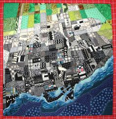 "I was so excited when Lisa from Color My World asked me to join an online art quilt group called ""Challenge 4 Art"". The remaining two . Map Quilt, Quilt Art, Google Earth, Textiles, Toronto, Landscape Quilts, Contemporary Quilts, Quilting Projects, Art Quilting"