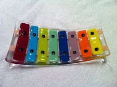 Xylophone fused glass Fused  plate glass platter fused by bizzib, $59.50