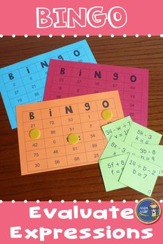 Evaluate Expressions BINGO - Provide your students with some engaging practice with evaluating math expressions. Students will evaluate the expression for the given value while playing a math game. $ gr 5-8