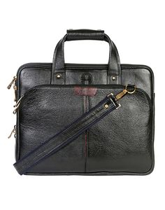 JL Collections Men's 15.5 Inches Leather Messenger Executive Bag for Laptop Briefcase Satchel Bag Medium Black