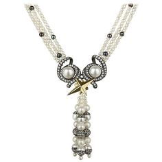Cultured Freshwater Pearl Diamond Sterling Silver Gold Necklace 1