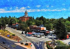 This artistic digitally enhanced photo of Auburn, CA was taken from an Amtrak railcar on the railroad trestle over I-80 exit looking towards the historic district and courthouse. Claude Chana discovered gold in a ravine May 16, 1848. Placer mining in the Auburn area was very good, with the camp first becoming known as the North Fork Dry Diggings and soon the area developed into a mining camp. By Patrick Witz