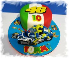 Valentino Rossi cake Valentino Rossi, Buttercream Filling, Chocolate Buttercream, Themed Birthday Cakes, 40th Birthday, Birthday Ideas, Edible Printing, Vanilla Sponge, Chocolate Sponge