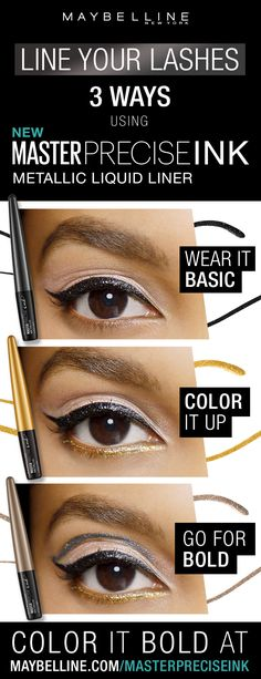 Discover metallic liquid eyeliner in pigmented shades to create a bold eye makeup look. Smudgeproof and waterproof liner formula that lasts up to 24 hours. Simple Eyeliner, Perfect Eyeliner, How To Apply Eyeliner, Red Eyeliner, Eyeliner Makeup, Mascara Tips, Best Mascara, Bold Eye Makeup, Maybelline Makeup