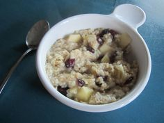 If you like Mcdonald's fruit and maple oatmeal you will love this!  1/2 cup 100% whole grain quick oats  2 TBL brown sugar  handful of cranberries or raisins  chop up 1/4 apple of your choice  1 cup water  Microwave 1 1/2 -2 minutes  Viola!!! Enjoy!