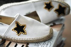 If there's something I really enjoy is getting crafty and re-inventing old favorites with a little bit of creativity. These studded sue. White Espadrilles, Creations, Give It To Me, Crafty, Stars, Sewing, Beautiful, Jewelry, Outfit