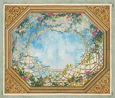 Jules Edmond Charles Lachaise Design for a Ceiling with Clouds, Trellises and Roses century Ceiling Murals, Wall Murals, Wall Art, Ceiling Ideas, Rose Trellis, Art Decor, Decoration, Grisaille, Mural Painting