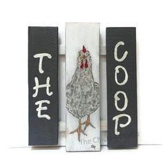 Chicken Coop Sign The Coop Original Art by TheChickenStudio