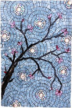 Cherry Blossom Mosaic by Dyanne Williams http://www.dyannewilliamsmosaics.com/PretaDecorer/CherryBlossoms/CherryBlossomsMosaic/cherryblossomsmosaic.html