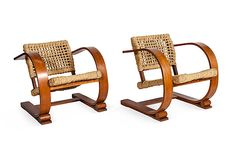 Wood & Rope Chairs, Pair
