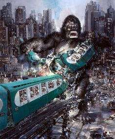 One of my favorite posters from the lackluster 1976 King Kong. Art by John Conrad Berkey (1976) *