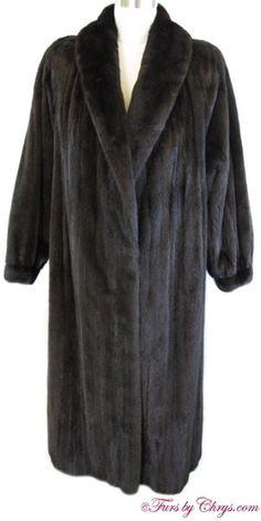 Long Black Diamond Ranch Mink Coat Size Range: 12 - 16 Misses, Price: SOLD, Excellent Condition Mink Coats, Mink Fur, Fur Coat, The Ranch, Long Black, Shoulder Pads, Black Diamond, Sash, Hooks
