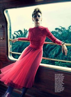 Train Ride Editorials - The Marie Claire UK 'Orient Express' Photoshoot Stars Leah de Wavrin