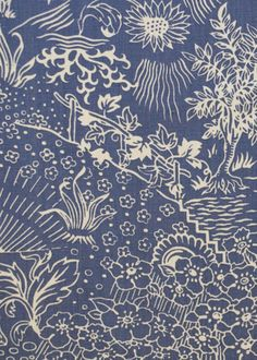 Collection: Toile Pattern: Storybook Style No: 2041 Color: Indigo Content: 100% linen Width: 55 in Repeat: 28