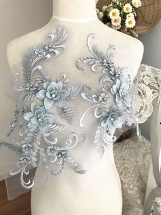 3D pearl and rhinestone beaded lace applique set in smoke blue, wedding gown bridal dress dance costumes applique by Retrolace on Etsy https://www.etsy.com/listing/515193366/3d-pearl-and-rhinestone-beaded-lace