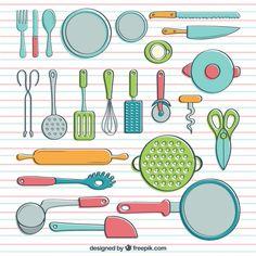 free vectors: kitchen utensils / Kochgeschirr in Hand gezeichnet Stil Kostenlose Vektoren