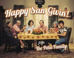 ¿Que Pasa, USA? Love it! Notice the Materva & Irober that they are drinking, must mention Carmen's cool wedges & what Cuban dining room would be complete without a depiction of The Last Supper on the dining room wall? St. Givin patron of roasted Turkeys!
