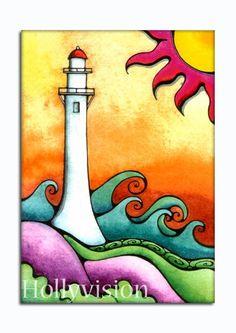 Diamond Head Lighthouse Honolulu Hawaii ... http://www.etsy.com/shop/HollyvisionArt