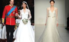 Kate Middleton's Lace Gown With Sleeves by Sarah Burton    This iconic Sarah Burton royal wedding gown has since inspired countless modest v-necks and dainty lace sleeves. This romantic style will make any girl feel like a princess.
