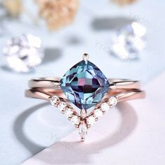 Alexandrite Engagement Ring, Alexandrite Ring, Most Beautiful Engagement Rings, Full Eternity Ring, Purple Band, Wedding Rings For Women, 2 Carat, Conflict Free Diamonds, Bridal Sets
