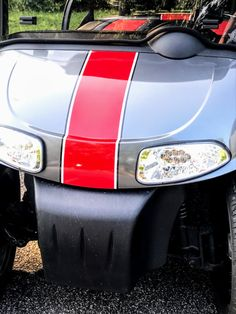 Customize a golf cart by simply using pinstripes on your front cowl. #customizeagolfcart #golfcartdecals #golfcartdiy Custom Golf Cart Bodies, Custom Golf Carts, Custom Body Kits, Golf Cart Accessories, Fender Flares, Football Team, Nascar, Cowl, Decals